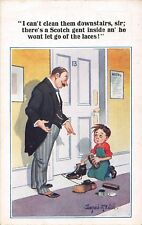 POSTCARD  COMIC   DONALD  McGILL  Shoeshine  Boy  Scotsman  Laces