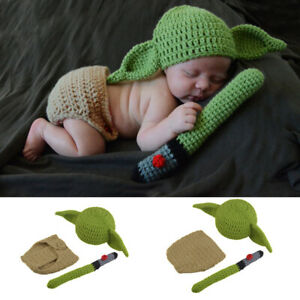 Star Wars Master Yoda Newborn Baby Knitted Crochet Costume Photo Prop Outfit Set
