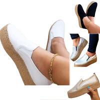 Womens Platform Espadrilles Pumps Ladies Casual Slip On Comfy Loafers Shoes 6-10