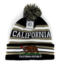California Republic hat Pom Beanie Cuffed Winter Skull cap- Black/Beige stripe