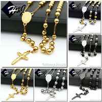 """26+5""""MEN WOMEN Stainless Steel 6mm Silver/Black/Gold Beads Rosary Necklace"""
