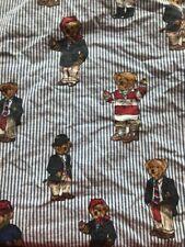 Ralph Lauren Polo Fitted Sheet Striped Twin Size Bears Teddy Bear Fabric Cutter