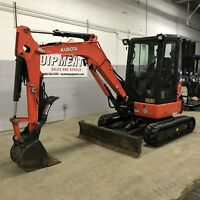 2013 KUBOTA U35 USED MINI EXCAVATOR - CAB, HEAT, A/C, THUMB, LOW HOURS, BUCKET