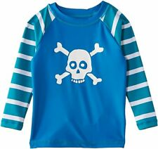 Nwt~Hatley~Boys Long Sleeve Rash Guard Swim Shirt~Top~Skull Crossbones~7~New
