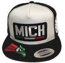 MICHOACAN 3 LOGOS AGUILA 3 COLOR EN LA VISERA LOGO FEDERAL HAT WHITE BLACK MESH