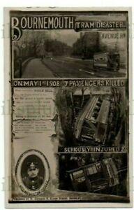 WARNER GOTHARD POSTCARD BOURNEMOUTH TRAM DISASTER HANTS / DORSET REAL PHOTO 1908
