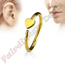 316L Surgical Steel Gold Ion Plated Nose & Ear Cartilage Ring with Heart