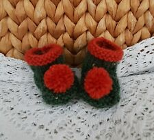 """*Bear Knits* Hand Knitted green / copper bobble boots  fit approx 3""""  teddy foot"""
