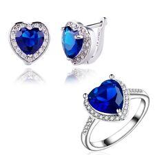 Gift Box Pack Jewelry Set 18K White Gold Filled Heart Blue C.Z Ring+Earring