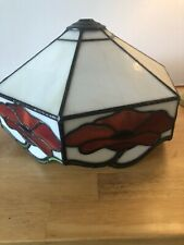 Vintage Tiffany Style Lampshade Leaded Glass Poppy Design Red Cream Green