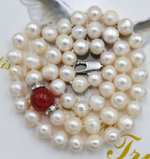 """NEW 7-8MM WHITE akoya PEARL & 10MM red ruby NECKLACE 18"""""""