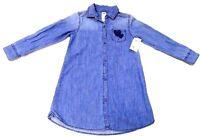 OshKosh B'Gosh Girls SHIRT DRESS Long Sleeve DENIM Cotton BLUE