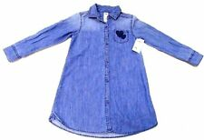Oshkosh B'gosh Girls Shirt Dress Long Sleeve Denim Cotton Blue 6x Years