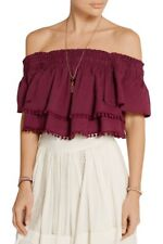 Apiece Apart Burgundy Red Rosal Off The Shoulder Crop Top Blouse Extra Small XS