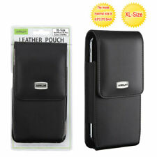 Motorola MOTO G7 POWER Vertical Black PU Leather Pouch Case Belt Clip Holster