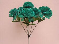 "4 Bushes GREEN BLUE Carnation 6 Artificial Silk Flowers 16"" Bouquet FB341GRBL"