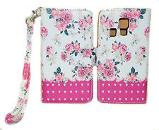 Pink Flower on White Wallet Leather Case Kyocera Hydro LIFE C6350 ICON C6730