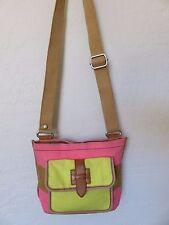 Fossil Cross Body Hipster Bag Pink Brown Yellow Stripe Canvas Handbag
