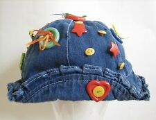 Child Toddler 'Happy Hat' Denim Buttons Ribbons