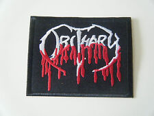 OBITUARY PATCH Embroidered Iron On Slowly We Rot Death Metal Band Badge Logo NEW