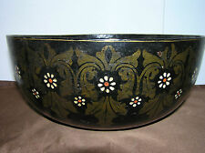 LARGE ANTIQUE BOWL MADE FROM PAPER MACHE.