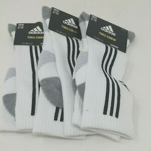 New! Adidas Trio Crew Sock-Men's Shoe Sizes 6-12, Black or White-3pk (3 pair)