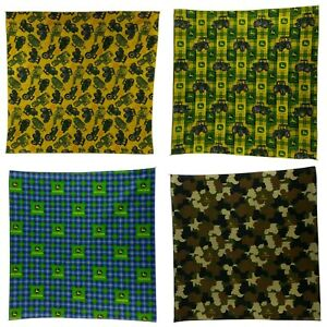 """Lot of Four (4) Assorted JOHN DEERE Bandanas MADE IN USA 21""""x21"""" 100% Cotton"""