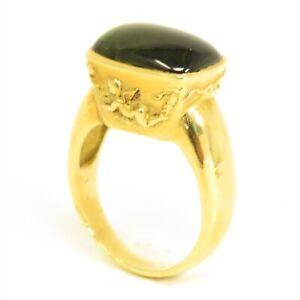 NYJEWEL 18k Yellow Gold 13ct Green Tourmaline Angel Ring 16.9g