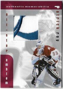 1999-00 BAP BE A PLAYER MEMORABILIA ALL-STAR EMBLEM PATCH PATRICK ROY SP /20