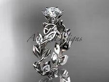 14kt white gold diamond celtic trinity knot  bridal ring,Moissanite CT7124