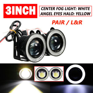 2PCS 3in 3200Lm LED Projector Fog Light Round Amber Angel Eye Halo 4X4 Truck 12V