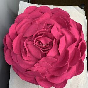 "Pottery Barn Dorm 12"" D Pink Floral Petal Flower Pillow Decor Boho"
