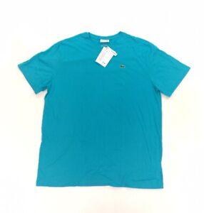 NEW Lacoste V-Neck Pima Cotton Short Sleeve Mens T Shirt Tee Big Tall Blue 1XLB