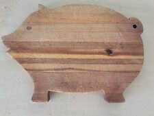 Antique Primitive Carved Curled Tail Wood Pig Cutting Chopping Bread Board Block