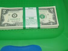 100 NEW UNCIRCULATED CONSECUTIVE $2 BILLS - COLLECTIBLE- U.S. CURRENCY (1301)