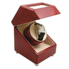 Winder Storage Three Programmed Presets Single Automatic Wooden Rotating Watch