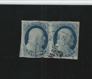 UNITED STATES-PAIR-IMPERF-FRANKLIN-ON PIECE-VF-1852?-#202