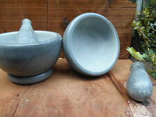 Grey marble-effect soapstone pestle & mortar - 10cm - herbs/incense/spices/cook