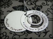 Personalised  Hand Stamped Family Forever/Names Pendant 38mm