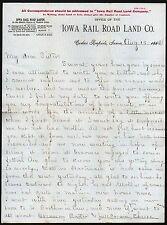 1882 Cedar Rapids - Iowa Rail Road Land Co 4 Railroads Vintage Letterhead Cover