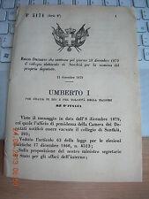 REGIO DECRETO 1879 CONVOCA COLLEGIO ELETTORALE DI SANTHIà X  ELEZ DEPUTAT