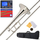 Mendini Nickel Plated Bb Slide Trombone ~ School Band +Tuner+Case+ Mouthpiece