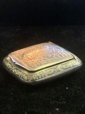 Fine Antique Decorative Sterling Silver Pill Box with Mirror