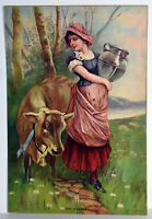 """15"""" Antique 1909 Print Young Woman w/ Cow The Jersey V .Sloan NY Art Decor"""