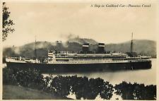 Panama Canal Ocean Liner Close-Up View In Gaillard Cut Postcard