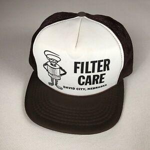 Filter Care Snapback Hat VTG Rope Cap Foam Front David City Nebraska Brown White