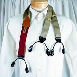 TRAFALGAR  Khaki with Burgundy Men Suspenders