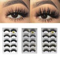 5Pairs 3D Eyelashes Hand Made Reusable Natural Long Eyelashes Mink B4B8 Eye V8O2