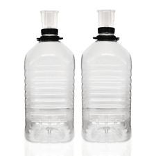 2 x Demijohn Plastic PET 1 Gallon / 5 Litre With Airlocks Home Brew Wine Making