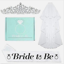 Bachelorette Party Decorations Bride To Be Box With Tiara, Sash, and Veil New